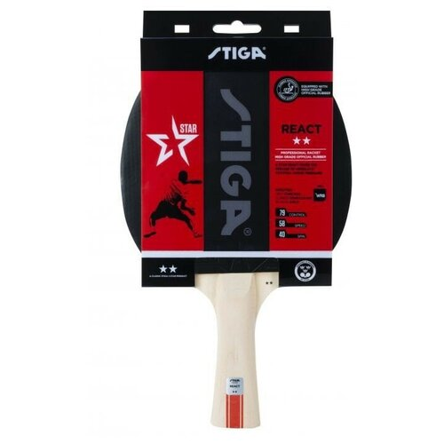 Фото - Ракетка для настольного тенниса STIGA React WRB 2**, арт. 1212-8418-01 stiga control advance арт 1887 01