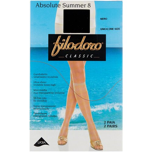 Капроновые гольфы Filodoro Classic Absolute Summer 8 Den, 2 пары, размер one size, nero
