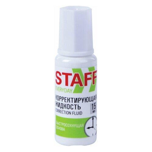 STAFF Корректирующая жидкость staff everyday быстросохнущая, 15 мл, с кисточкой, 229398, 18 шт.
