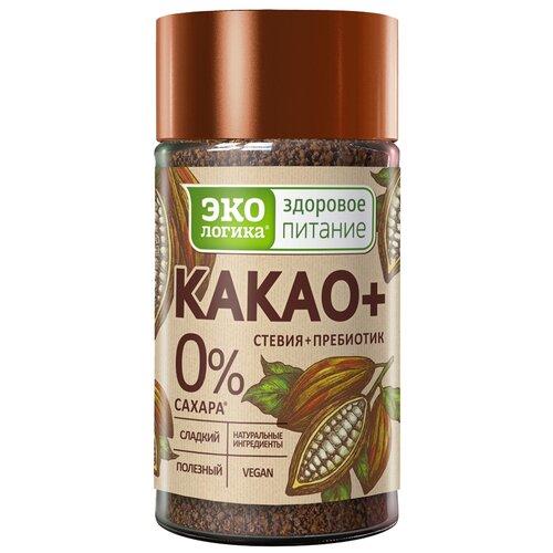 Экологика Какао+ какао-порошок растворимый со стевией и пребиотиком, банка, 125 г