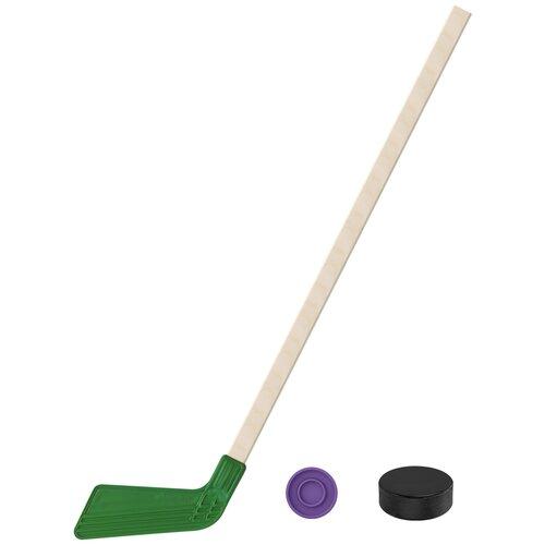 Набор зимний: Клюшка хоккейная зелёная 80 см.+шайба + Шайба хоккейная 75 мм., Задира-плюс