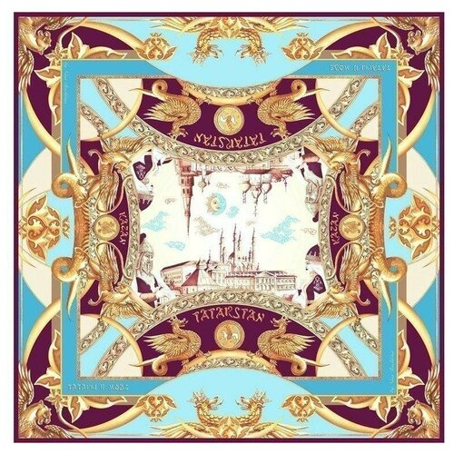 Платок Русские в моде by Nina Ruchkina Казань драгоценная голубой/фиолетовый/золотистый