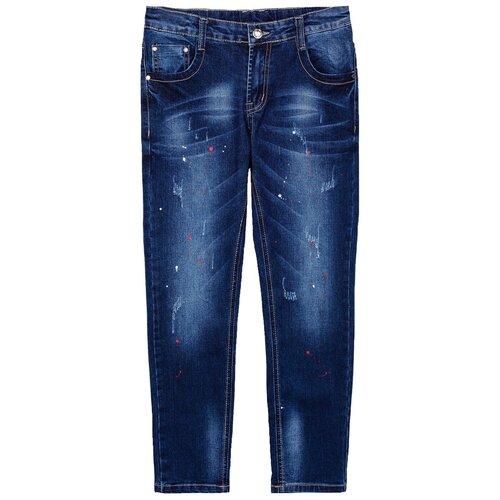 Джинсы playToday размер 128, темно-серый/красный/белый брюки playtoday classic girls 394424 размер 122 темно серый