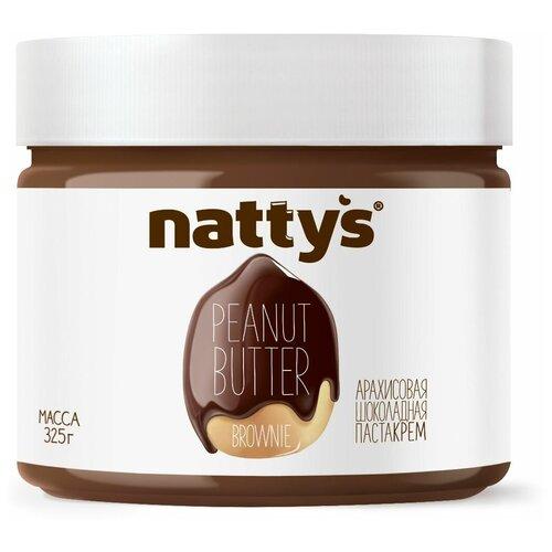 Паста арахисовая Brownie с шоколадом Nattys, 325 г nattys арахисовая паста chili с перцем чили и морской солью 325 г