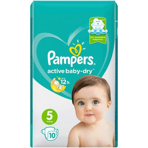 Фото - Pampers подгузники Active Baby-Dry 5 (11-16 кг), 10 шт. pampers подгузники new baby dry 1 2 5 кг 27 шт