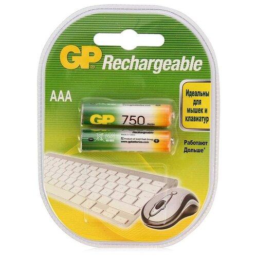 Фото - Аккумулятор Ni-Mh 750 мА·ч GP Rechargeable 750 Series AAA, 2 шт. aaa аккумулятор gp 65aaahc 2 шт 650мaч