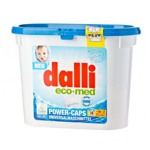 Капсулы Dalli Eco-Med power Caps, контейнер, 18 шт, 0.49 кг гель dalli wolle