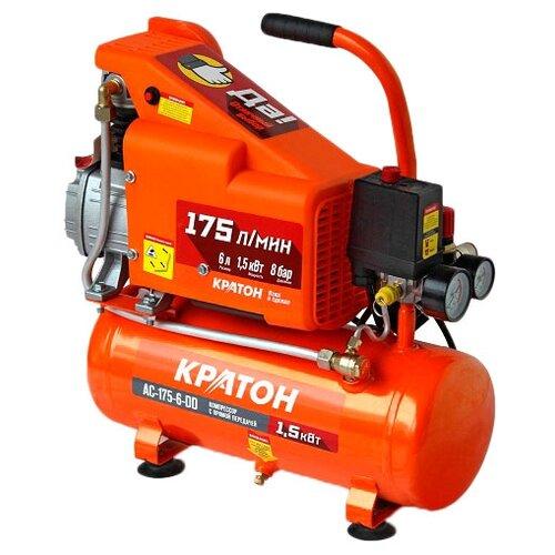 Компрессор масляный Кратон AC-175-6-DD, 6 л, 1.5 кВт компрессор масляный кратон ac 360 100 ddv 100 л 2 2 квт