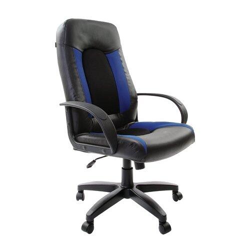 Компьютерное кресло Brabix Strike EX-525 для руководителя, обивка: текстиль/искусственная кожа, цвет: черный/синий TW brabix strike ex 525 серый черно синий
