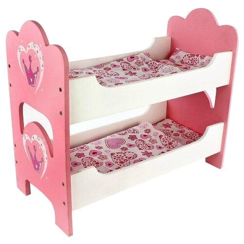 Mary Poppins Кроватка двухспальная Корона (67116) белый/розовый mary poppins мебель для кукол mary poppins корона кроватка каталка карета