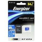 Карта памяти Energizer microSDXC Class 10 UHS-I U3 95MB/s + SD adapter