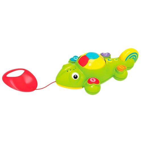 Купить Каталка-игрушка 1 TOY Интерактивный хамелеон (Т10505) со звуковыми эффектами зеленый/красный, Каталки и качалки