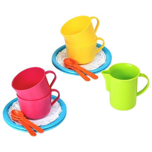 Набор посуды Росигрушка Чай с молоком 9417 желтый/красный/голубой росигрушка набор игрушечной посуды первый блин