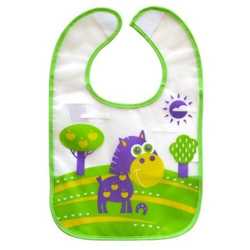Купить Lubby Нагрудник с карманом на липучке В мире животных , 1 шт, расцветка: зеленый/фиолетовый, Нагрудники и слюнявчики