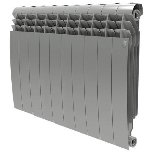 Радиатор секционный биметаллический Royal Thermo BiLiner 500 x10 теплоотдача 1110 Вт, подключение универсальное боковое Silver Satin радиатор биметаллический royal thermo biliner silver satin 500 мм 4 секции 1 боковое подключение серый