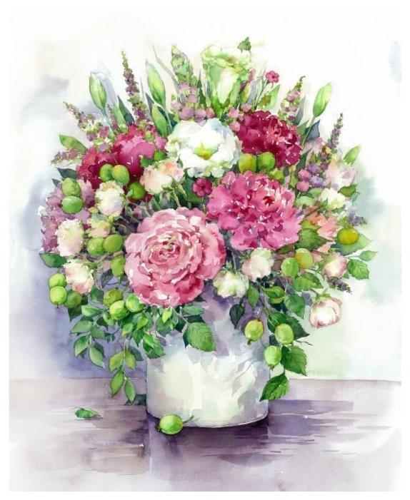 Цветной Набор алмазной вышивки Яркие пионы с зелеными плодами в белой вазе (LG025) 40х50 см