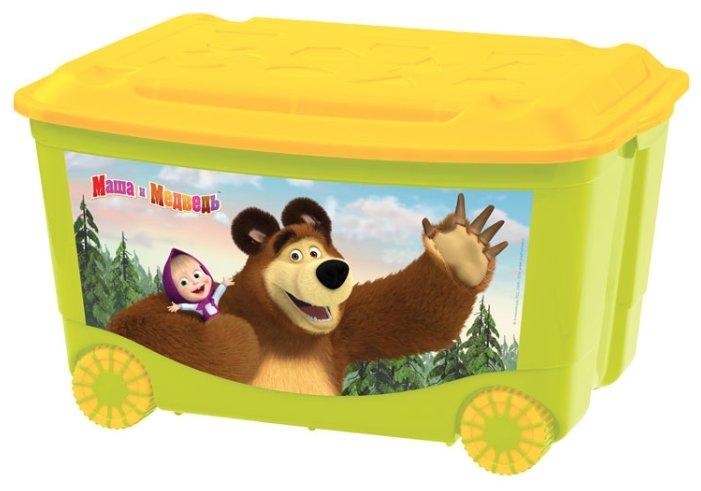 Ящик для игрушек с аппликацией на колесах 580*390*335 мм