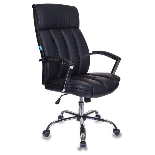 Компьютерное кресло Бюрократ T-8000SL для руководителя, обивка: текстиль/искусственная кожа, цвет: черный кресло руководителя бюрократ t 9910n black черный искусственная кожа пластик серебро