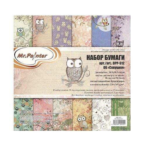 Купить Бумага Mr. Painter 30, 5x30, 5 см, 36 листов, DPP-S12 06 Совушки бежевый, Бумага и наборы