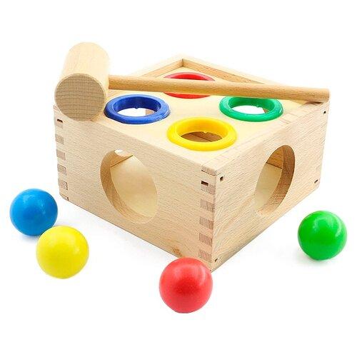 Стучалка Мир деревянных игрушек Шарики бежевый деревянные игрушки мир деревянных игрушек мди стучалка шарики