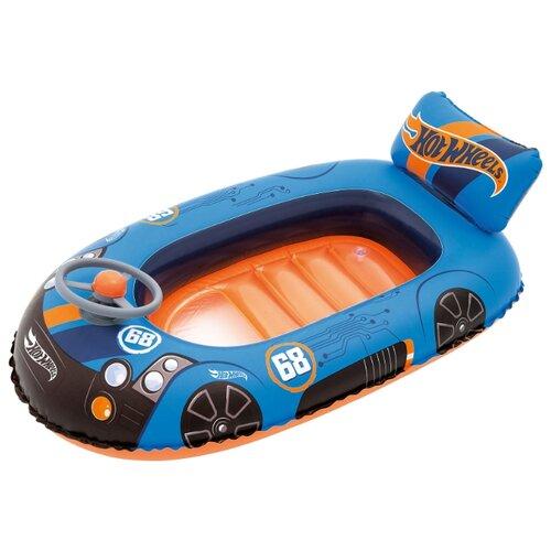 Купить Лодочка надувная Bestway Hot Wheels 93405 BW синий/оранжевый, Надувные игрушки