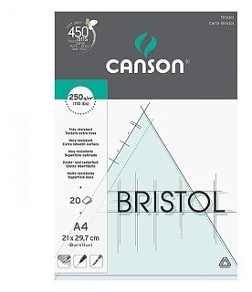Альбом для графики Canson Bristol 29.7 х 21 см (A4), 250 г/м², 20 л.