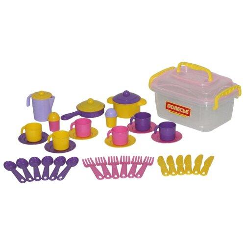 Набор посуды Полесье Настенька на 6 персон 56580 желтый/фиолетовый/розовый набор посуды полесье сервировочный столик stars chef 44655 фиолетовый зеленый белый