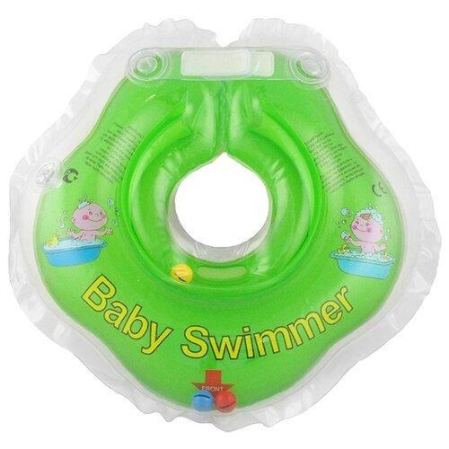 Круг на шею Baby Swimmer 0m+ (3-12 кг) с погремушкой салатовый