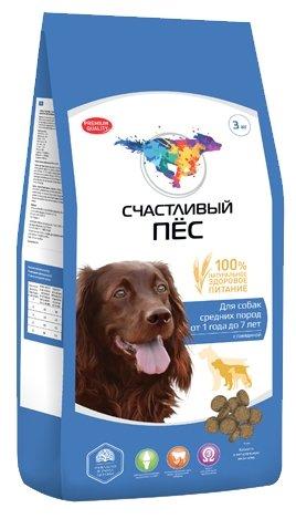 Корм для собак Счастливый пёс Сухой корм для собак средних пород с говядиной