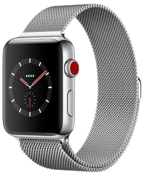 Apple Часы Apple Watch Series 3 Cellular 38mm Stainless Steel Case with Milanese Loop