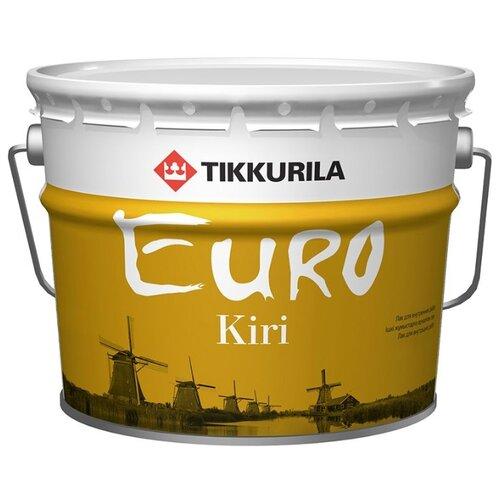 Лак Tikkurila Euro Kiri полуматовый алкидно-уретановый бесцветный 9 л лак tikkurila kiva 30 полиакриловый бесцветный 0 9 л