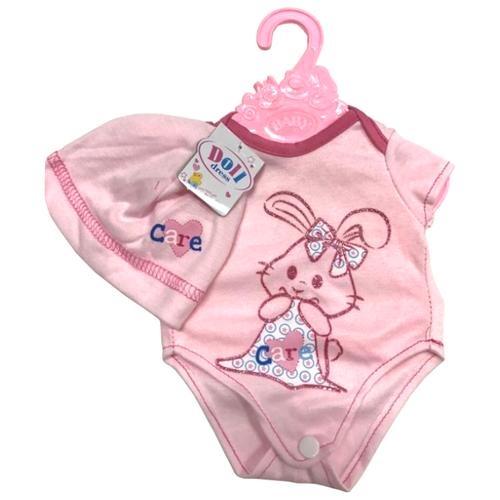 Купить Junfa toys Боди с шапочкой для кукол 43 см BLC03 розовый, Одежда для кукол