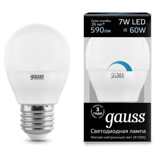 Лампа светодиодная gauss 105102207-D, E27, G45, 7Вт