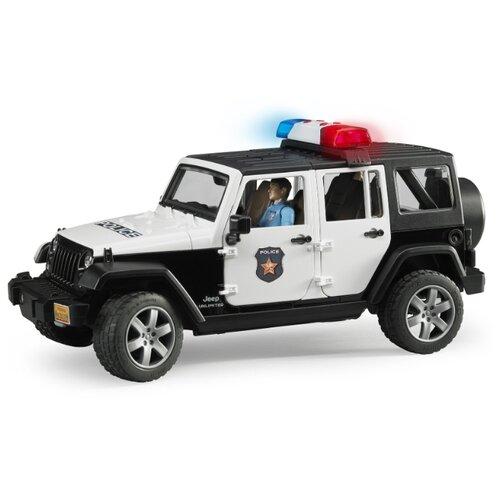 Фото - Внедорожник Bruder Jeep Wrangler Unlimited Rubicon Полиция, с фигуркой (02-526) 1:16 31 см черный/белый внедорожник bruder jeep cross counrty racer 02 541 29 см голубой