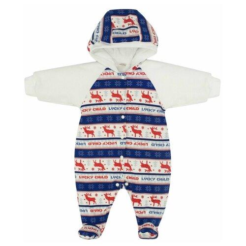 Комбинезон lucky child размер 24, синий/красный/белыйКомбинезоны<br>