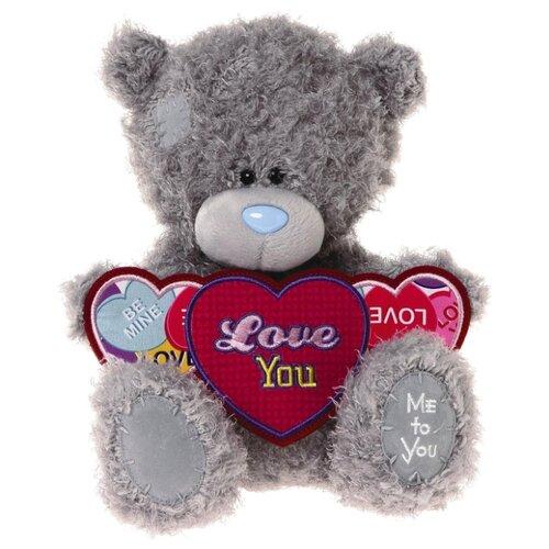 Купить Мягкая игрушка Me to you Мишка Тедди с тремя сердцами Love you 25 см, Мягкие игрушки