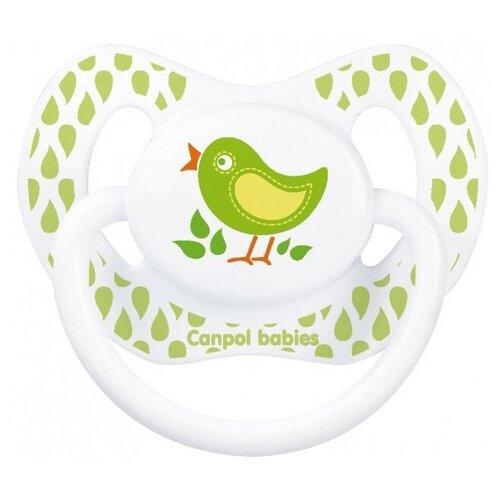 Купить Пустышка силиконовая ортодонтическая Canpol Babies Summertime 18+ (1 шт) зеленый/птичка, Пустышки и аксессуары