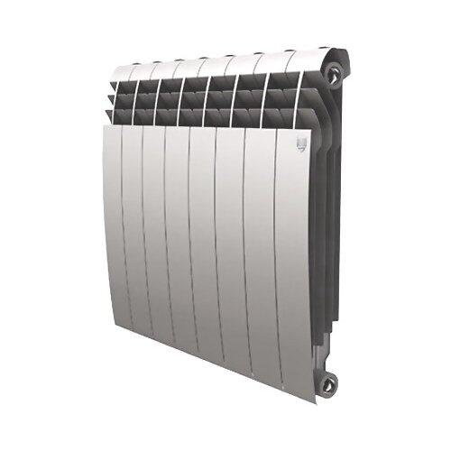 Радиатор секционный биметаллический Royal Thermo BiLiner 500 x8 теплоотдача 888 Вт, подключение универсальное боковое Silver Satin радиатор биметаллический royal thermo biliner silver satin 500 мм 4 секции 1 боковое подключение серый