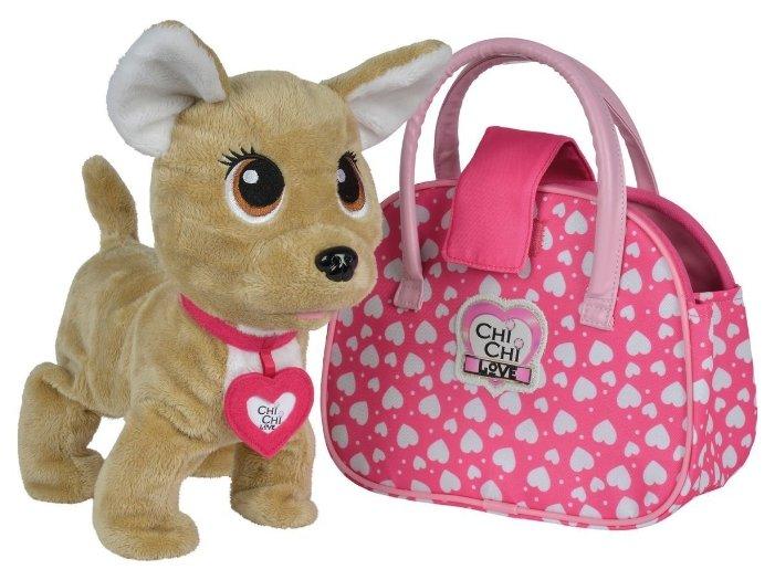 Simba Игрушка интерактивная Собачка Chi-Chi Love Счастливчик с сумочкой