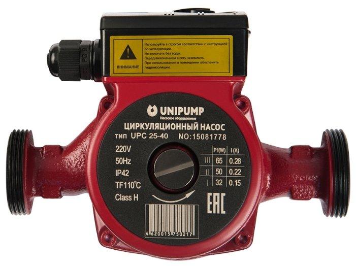 Циркуляционный насос UNIPUMP UPC 25-40 180мм (62 Вт)