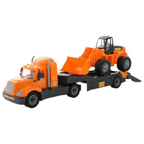 Набор техники Wader Майк автомобиль-трейлер + трактор-погрузчик (55736) оранжевый/черный набор машин полесье трейлер и трактор погрузчик mammoet volvo 204 03 57105 черный красный