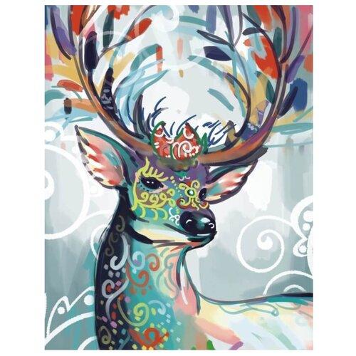 Купить Цветной Набор алмазной вышивки Разноцветная лань (LGP012) 40х50 см, Алмазная вышивка