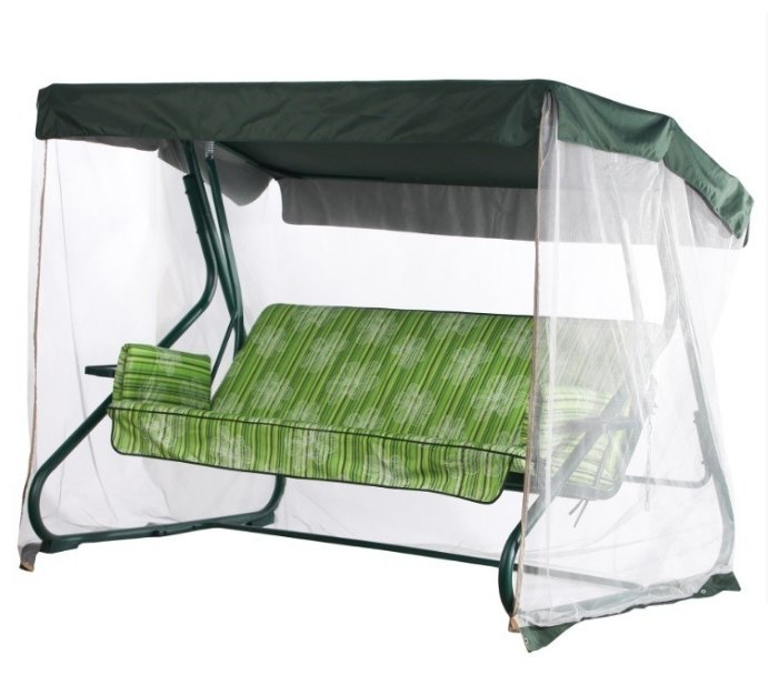 Садовые качели 2-местные с москитной сеткой Удачная мебель Ямайка зеленый каркас