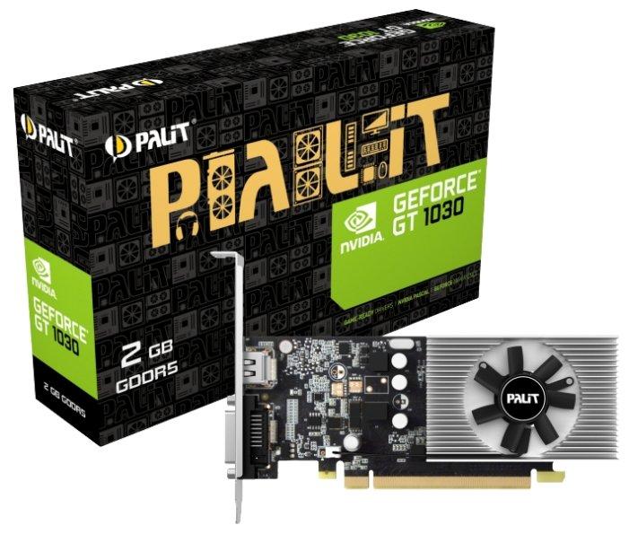 Palit Видеокарта Palit GeForce GT 1030 1227Mhz PCI-E 3.0 2048Mb 6000Mhz 64 bit DVI HDMI HDCP Low Profile