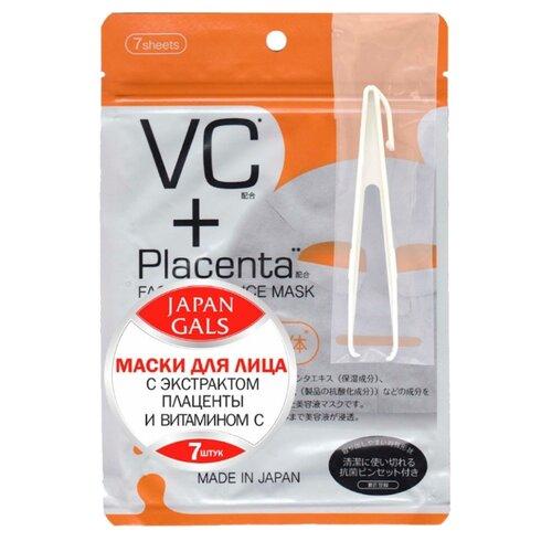 Japan Gals маска Placenta + Витамин C, 7 шт.