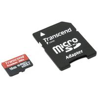 Карта памяти 16Gb MicroSD Transcend Class 10 + adapter (TS16GUSDU1)