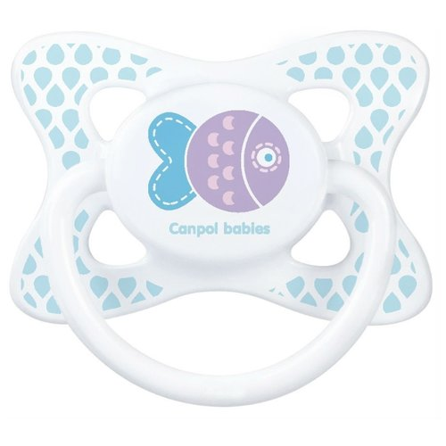 Купить Пустышка силиконовая анатомическая Canpol Babies Summertime 18+ (1 шт) голубой/рыбка, Пустышки и аксессуары