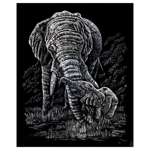 Купить Гравюра Royal & Langnickel Слон и малыш (SILF22) серебристая основа, Гравюры