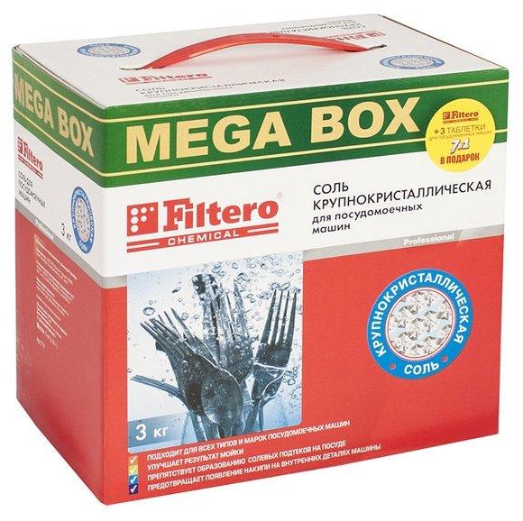 Filtero соль крупнокристаллическая MEGA BOX 3 кг