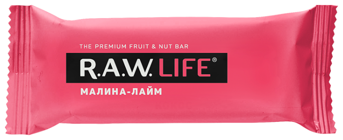 Фруктовый батончик R.A.W. Life без сахара Малина-Лайм, 47 г